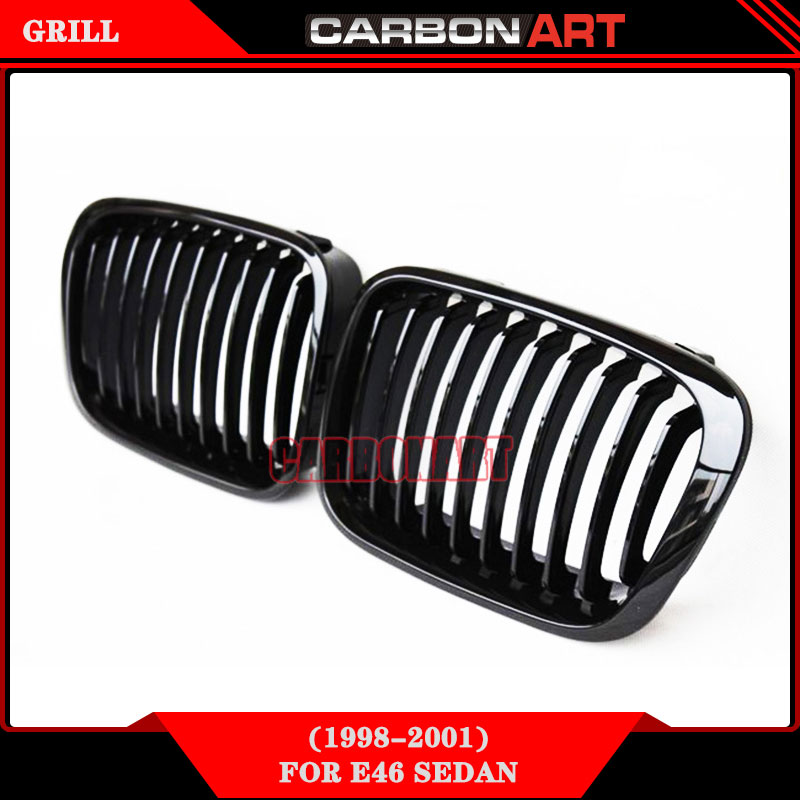 for bmw 3 series E46 Sedan ABS Material Glossy Black One Line front grill 320i 323i 325i 328i 330i 1998 1999 2000 2001 for bmw 3 series e36 318 328 323 325 front coilover strut camber plate top mount green drift front domlager top upper mount
