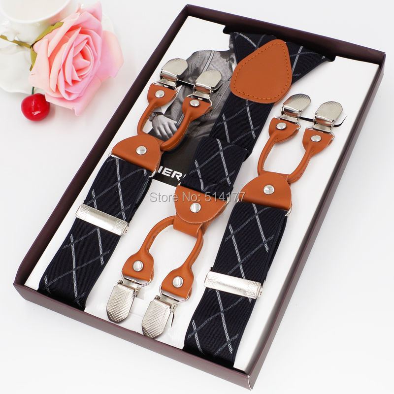 2019 New Men's Braces Casual Trousers Suspensorio Menino Boxed Strap 6Clip Suspenders Gifts Pants Strap Suspensorio Braces