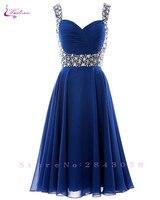 Waulizane 로얄 블루 라인 댄스 파티 드레스 등이없는 민소매 구슬 띠 정장 드레스 16 색상을 사용할 세관 만든