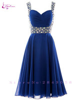 Waulizane Royal Blue A Line Prom Dresses Backless Sleeveless With Beading Sash Formal Dresses 16 Colors