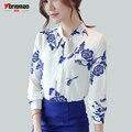 2017 Primavera e Verão Novas Mulheres Arco laço Camisa Chiffon Moda Casual Vento Chinês Impressão de mangas Compridas de Slim Camisa fina