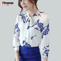 2017 Spring and Summer New Bow tie Women Chiffon Shirt Fashion Casual Chinese Wind Printing Long sleeves Slim thin Shirt