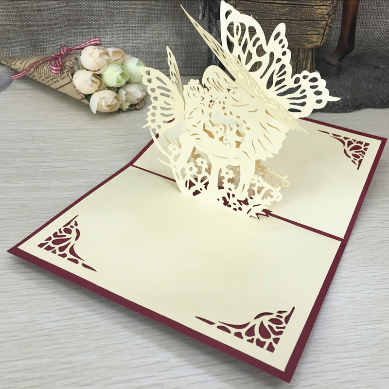 1pcs Angel Kiss Laser Cut Paper Greeting 3D Pop Up Kirigami Card Wedding Invitation Birthday Valentine's Day Postcards Gifts (3)