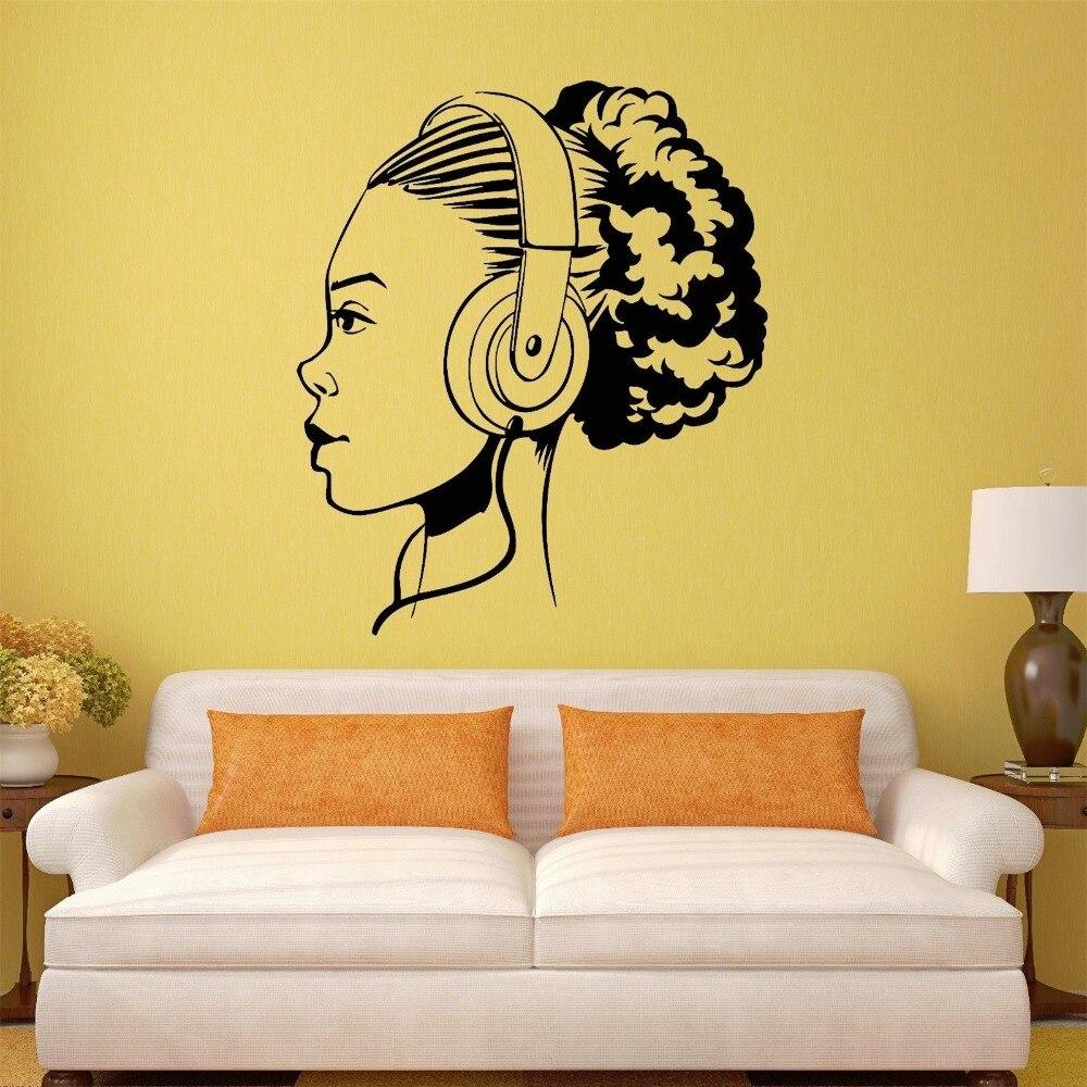 Wall Vinyl Sticker Decal Teen Girl Music Headphones Art Room Mural ...