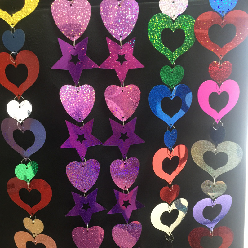 6st/lot  1meter per string combination 80mm Heart and 70mm Five star Sequins PVC Flat Paillette Decoration Paryty rooms