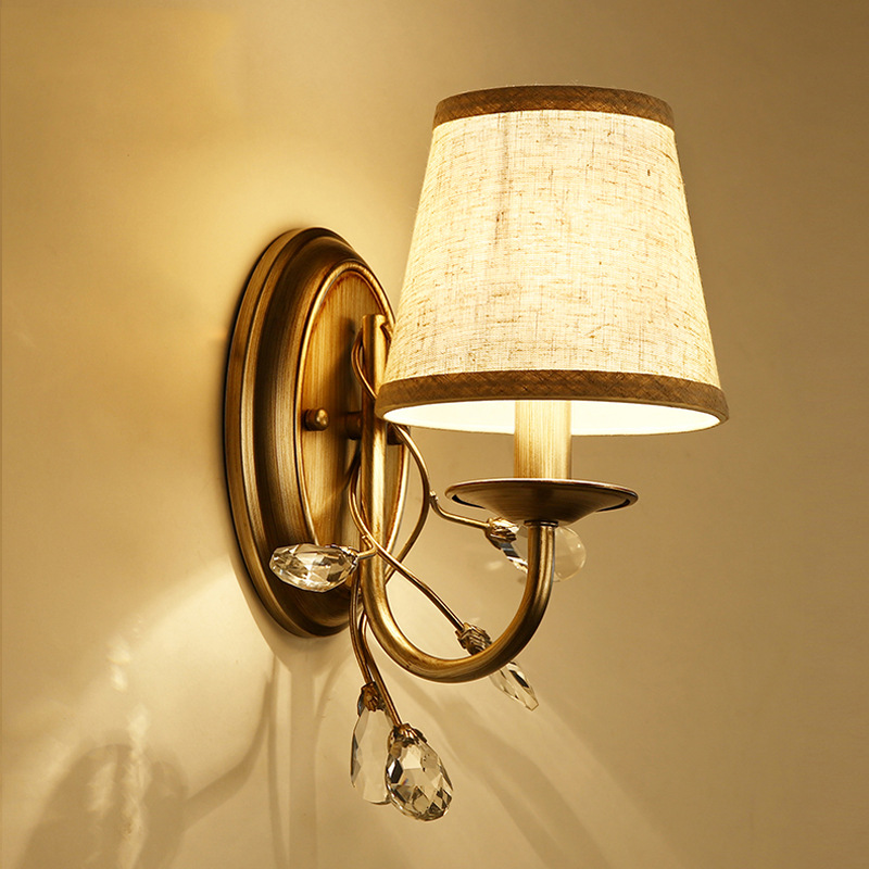 New High End American Country Retro K9 Crystal Iron Led E14 Wall Lamp For Bedroom Bedside Sitting Room Corridor Deco Light 2305 brass buckle titanium plate gold crystal wall lamp k9 crystal sitting room bedroom mirror light