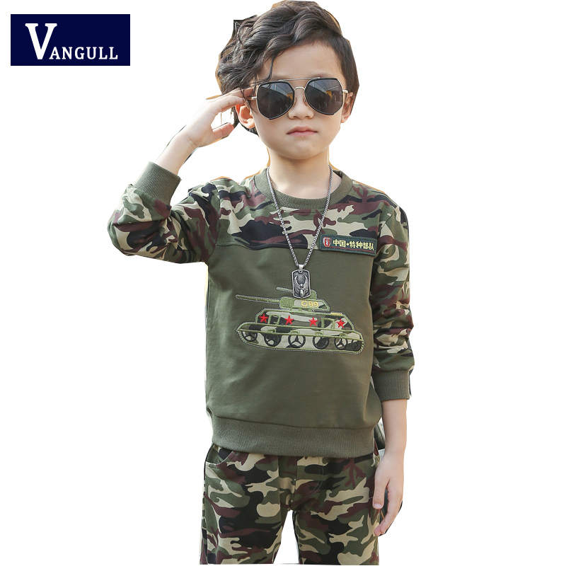 2017 spring and autumn hot new children two sets of 4-13 year old boy cotton camouflage stitching two sets of army style 2017 new children and adolescents autumn