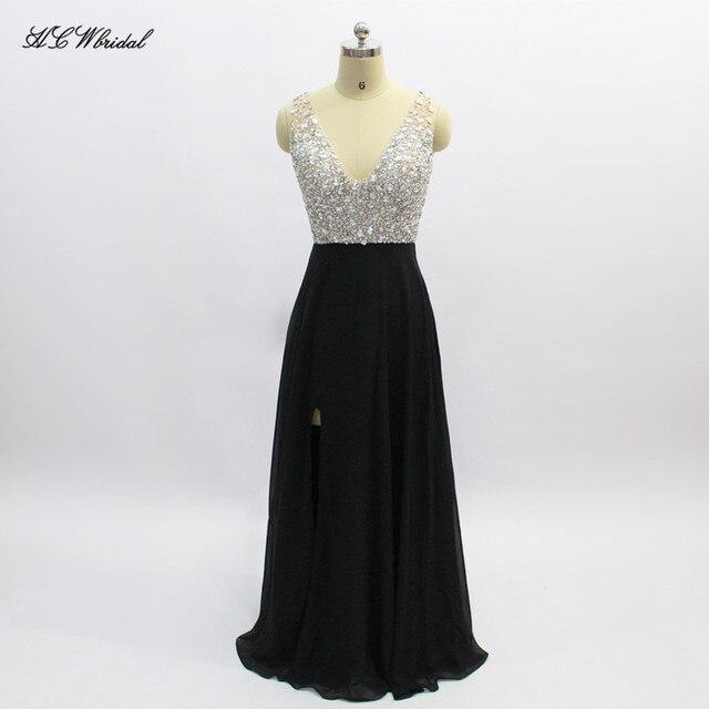 Luxury Crystals Black Evening Dress A Line Floor Length Side Slit Long  Party Dresses 2019 Vestido 79dd17b9345f