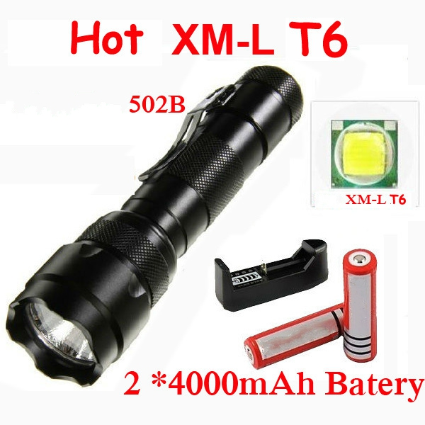 Hight Quality WF 502B 3 Modes XM-LT6 2000 Lumens Tactical Flashlights Torch light + 2*18650 Rechargeable Battery + Charger 3 6v 2400mah rechargeable battery pack for psp 3000 2000