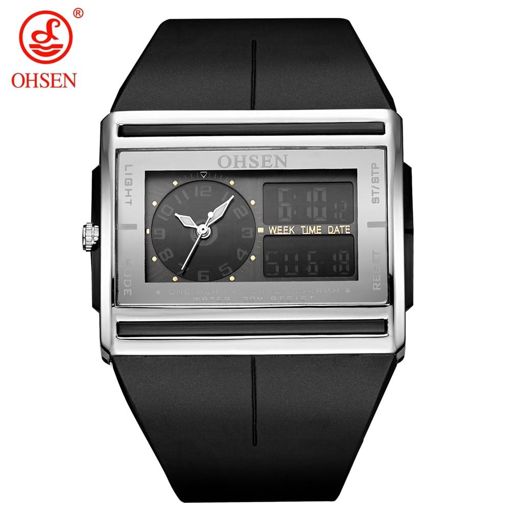 Relogio Masculino Analog Digital Watch Men LCD Back light OHSEN Brand Waterproof Man Sport Watch Quartz Fashion Wristwatch Clock ohsen 2821 sport quartz watch blue