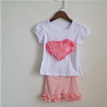 Heart painting pink solid color shorts and ruched sleeve t-shirt icing cotton fashion outfit dress girl ruched set in selling