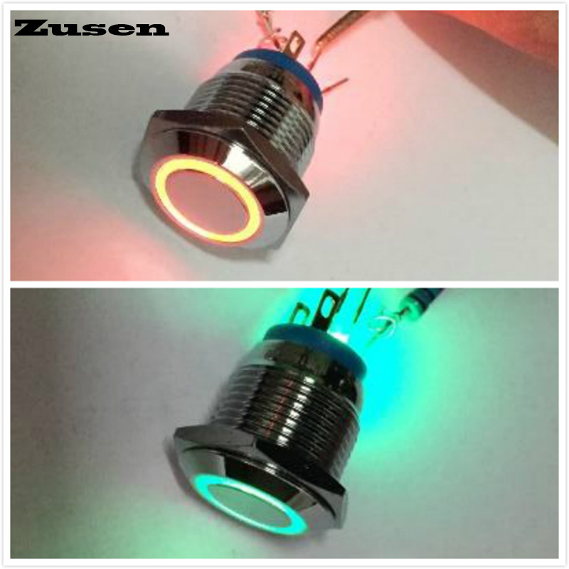 Zusen 16mm lacthing dual-color red green on/off  ring illuminated push button switch three led pins(GQ16F-10ZE/J/RG/12V/N) 19mm touch sensor piezo button switch with 5v dc red green blue three color ring illumination