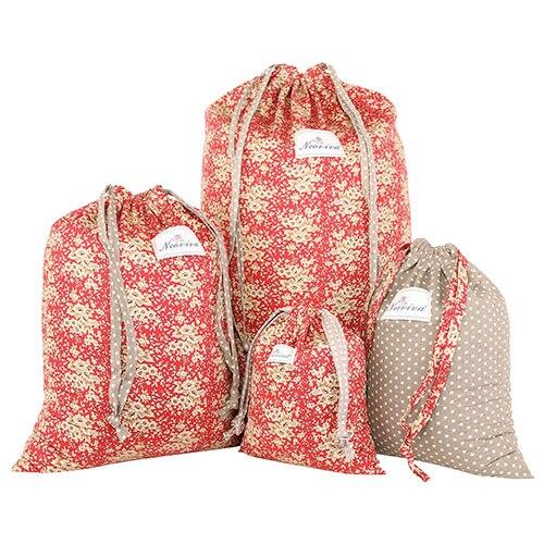 Bolsas de algod/ón con cord/ón para organizar el hogar y los viajes juego de 4 en diferentes tama/ños Neoviva