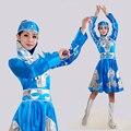 Синий Женщин Монгольский Танец Dress для Сценическое Китайский Национальный Дай Танец Костюм Женский Хмонг Танец Dress Одежда 89