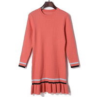 2017 Autumn Stripe Pattern Panelled Patchwork Round Neck Sweater Dress Knee Length All Matched Mermaid Dress