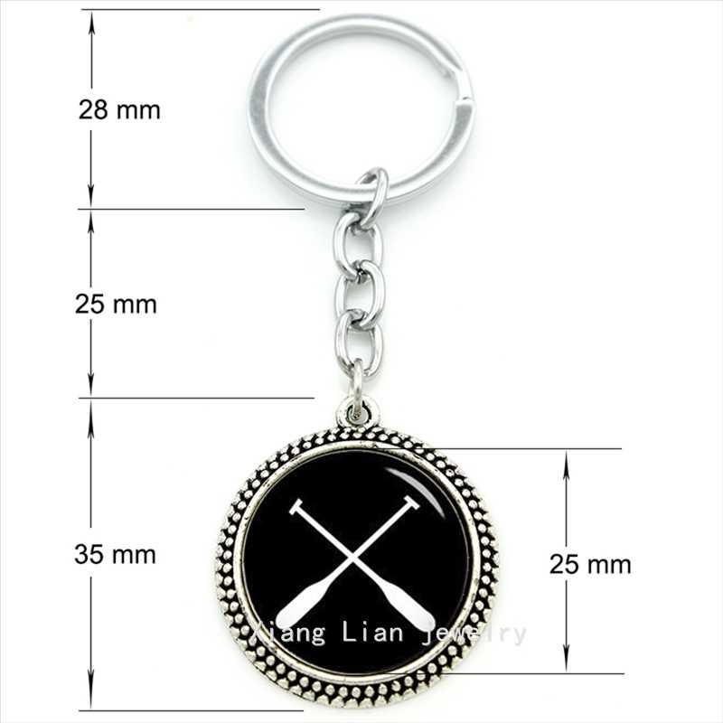 Exquis populaire sport style bijoux porte-clés rames rames sport art pendentif porte-clés bijoux en argent plaqué père cadeau T497