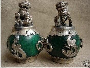 EEN Paar CHINESE PAAR Tibet ZILVEREN DRAAK Groene JADE Foo hond STANDBEELD Leeuw 2 stuks Tuin Decoratie MESSING