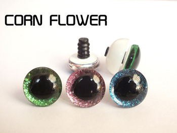 30pcs/lot---16mm/18mm/20mm/25mm clear trapezoid plastic safety toy eyes + glitter Nonwovens washer -10 PCS each color