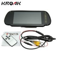 KROAK 7 '' TFT LCD Wide Screen Car Gương Chiếu Hậu Monitor Car Xếp Đậu Xe Phía Sau Xem Màn Hình Hiển Th