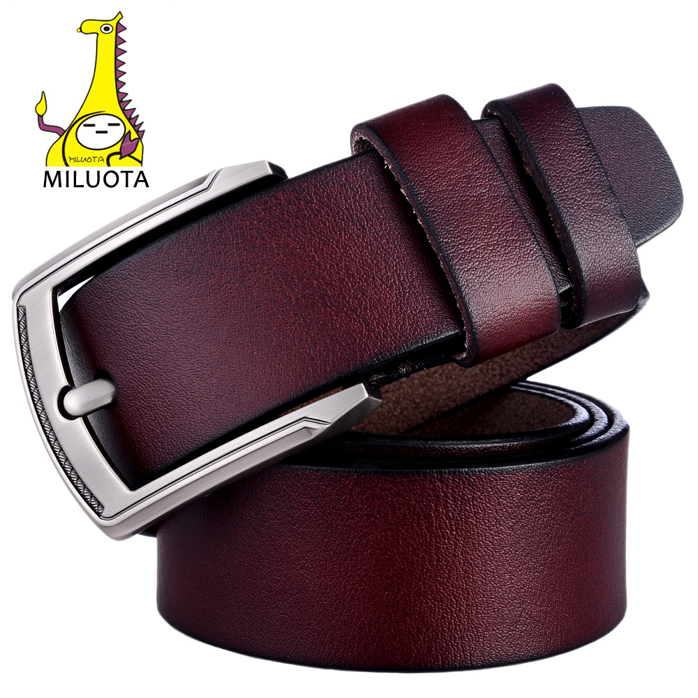 MILUOTA  Cinturón de Marca para Los Hombres 100% de Cuero Genuino Correa  Masculina de la correa de Metal Hebilla de La Vendimia Para Hombre  cinturones de ... 72326a688044