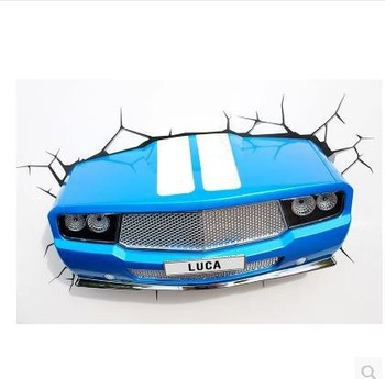 Blue Car creative Christmas birthday Dream master cartoon children boy toy gift led wall lamp 3D stick bedroom night light party usenda manufacture oem 55 inch lcd big screen video wall with 3 5mm bezel for advertising control room