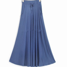 Free Shipping 2018 New Plus Size XS-10XL Long Maxi Skirt With Big Hem Cotton Stretch Waisted Black Skirt High Quality Customized