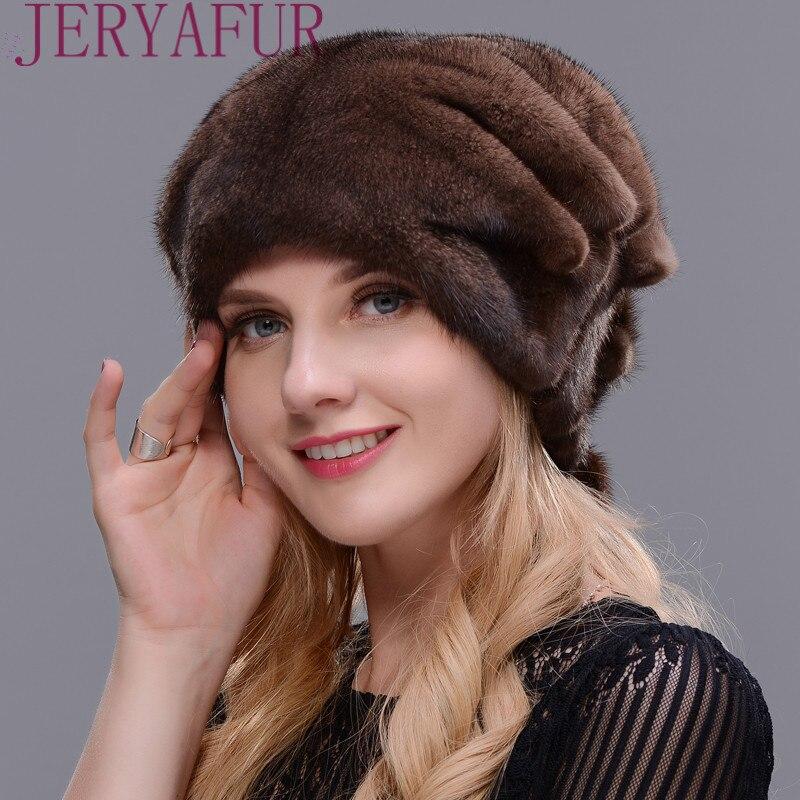 Women's Whole Mink Fur Winter Christmas Hat Festive Gifts One piece Mink Fur Hat High Quality Fur Hat Cap Woman Like Ear Warm