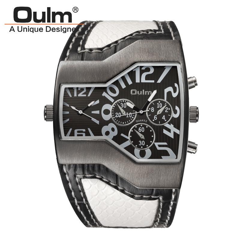 Prix pour 2016 Nouvelle Arrivée Mens Marque De Luxe OULM 1220 Montres Double japon Movt Quartz Importé Montre Militaire Large Bracelet Big Face noir
