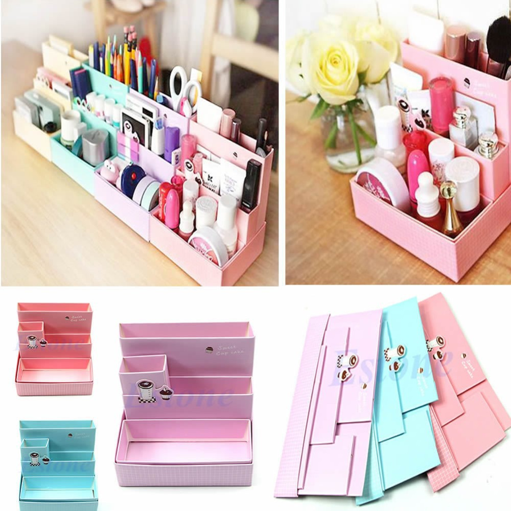 DIY Paper Board  Folding Multifunction Make Up Storage Box Container large capacity Desktop Box Cosmetics Organizer multifunctional car storage box container beige