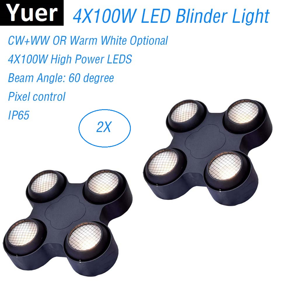 Dj Equipment 4X100W 4 Eyes LED Blinder Light COB Warm Cold White High Power Professional Stage Lighting Party Machine Discos