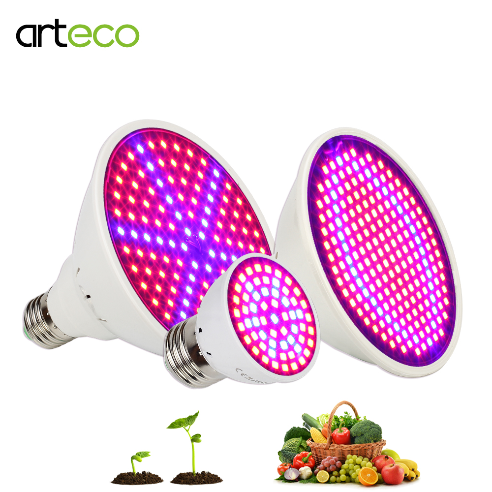 60 126 200 Led Grow Light bulb E27 AC85-265V Full Spectrum Indoor Plant Lamp For Plants Vegs Hydroponic System Plant Light