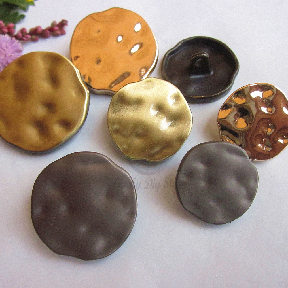 US $14 83 15% OFF 50pcs 30mm ~ 18mm Gun / Bronze / Gold Fashion ripple  metal coat buttons high grade meatl coat sweater suit buttons wholesale-in