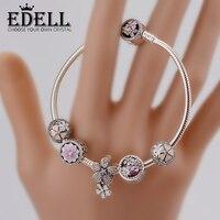 EDELL Genuine 100 925 Sterling Silver Bracelet For Set Women Spring Flowers Star Original Birthday Gift
