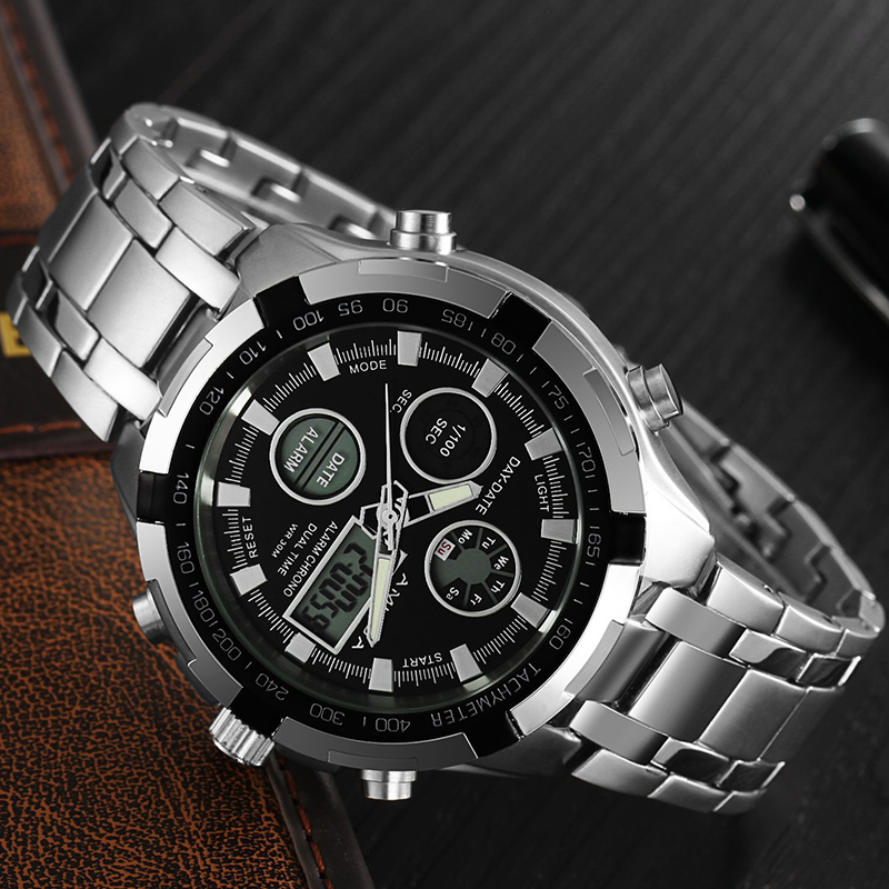 AMUDA New Men Fashion Casual Sports Watches Waterproof Chronograph Stainless Steel Digital Quartz Wristwatches Relogio Masculino 2018 amuda gold digital watch relogio masculino waterproof led watches for men chrono full steel sports alarm quartz clock saat