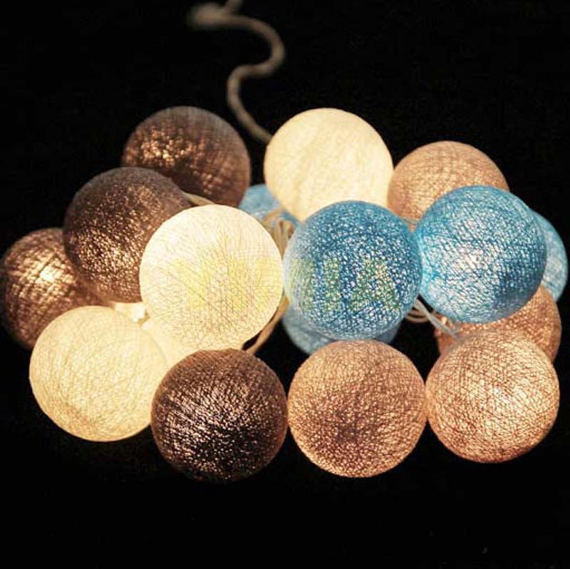 White/Gray/Blue Cotton Balls Guirlande Lumineuse Luces LED String Fairy Lights Christmas Garlands Holiday Lights Room Decoracion ...