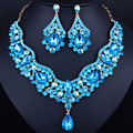 Brand jewelry Austrian crystal rhinestones necklace and earrings set Luxury bridal wedding jewelry sets