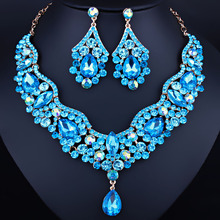 Marca de joyería de cristal Austriaco rhinestones collar y aretes sistemas de la joyería de Lujo nupcial de la boda