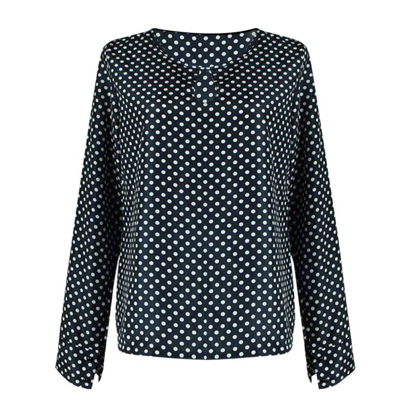 New Polka Dots Blouse Female Casual O Neck Long Sleeve Spring Autumn Women Top Loose Blusas Shirts Office Lady Blusas Femme