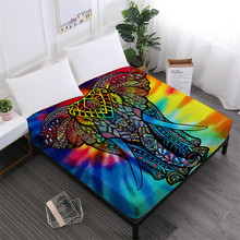Animal Elephant Pattern Bed Sheet Colorful Tribal Fitted Sheets India Style Mattress Cover Elastic Band Soft
