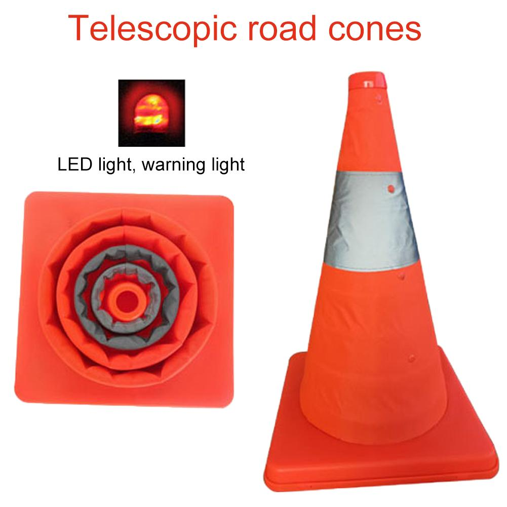 Car Warning Reflective Cone Car Emergency Telescopic Road Cone Emergency Triangle Safety Sign  With Top Light