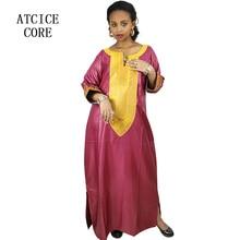 تصميم الأزياء الأفريقية مادة الحرير الناعم التطريز تصميم فستان طويل A226 #