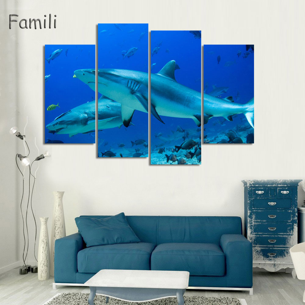 Kids Baby Room Decor Poster Animation Film Shark Poster Pictures Printed 4 Panel Canvas Home Decor For Walls,modular painting