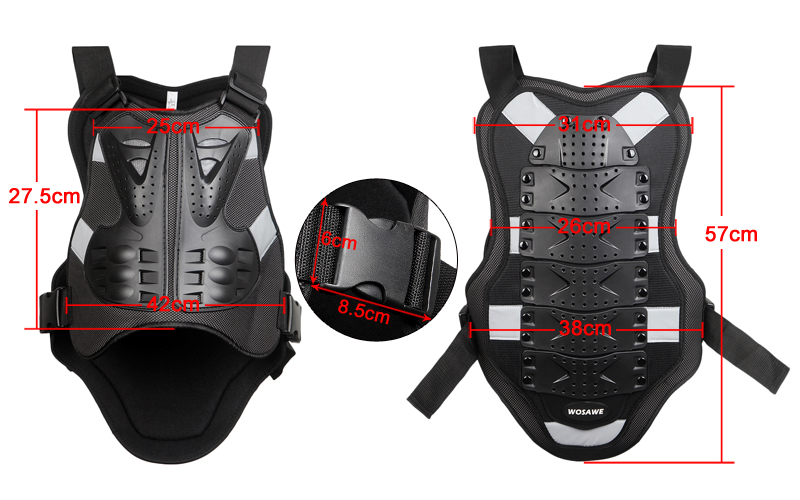 WOSAWE Ski Snowboard Armor Set Motorcycle Knee Pad Elbow Pad Chest Protector Back Support Motocross Motorbike Body Guard Gear in Skiing Jackets from Sports Entertainment