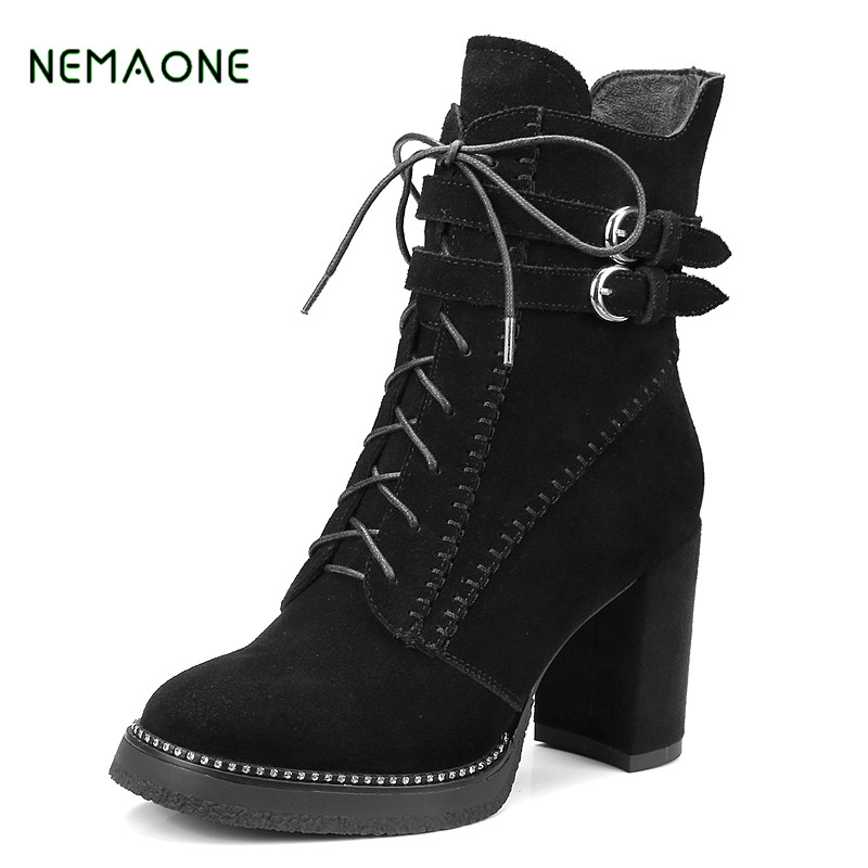 NEMAONE 2017 NEW Autumn Winter Women Ankle Boots high heels lace upgenuine leather double buckle platform short booties autumn winter women ankle boots high heels lace up leather double buckle platform short booties new ankle motorcycle combat boot
