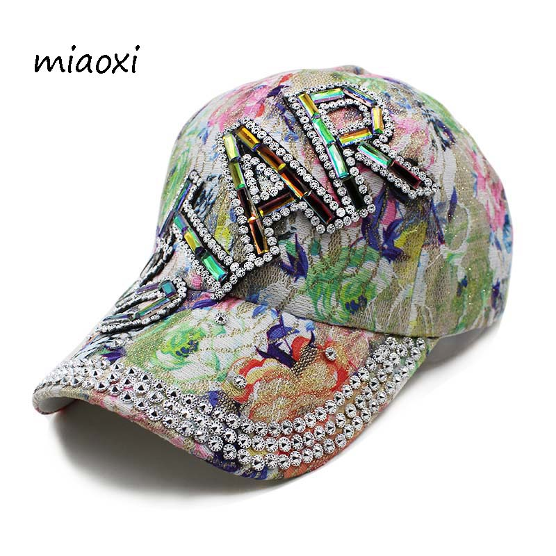 miaoxi High Quality New Fashion Women   Caps     Baseball     Cap   Star Rhinestone Floral Adult Hat Summer Sun Casual Hats Women's Snapback