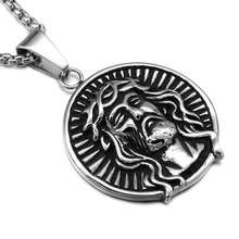 HIP Punk JESUS Piece Round Necklaces Gold /Silver Titanium Stainless Steel Chain Pendants Accessories for Men Christian Jewelry