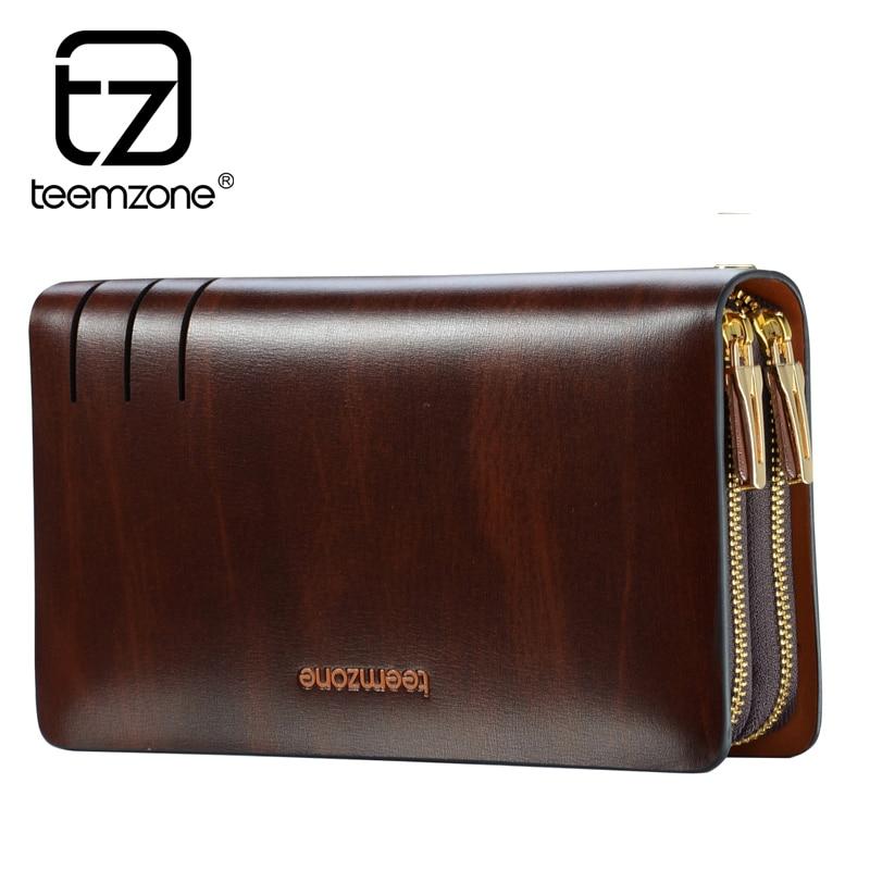 Teemzone Men's Trendy Vintage Cowhide Oil Wax Leather Men Long Wallet Elegant Business Male Brand Portfolio Clutch Handbags JJ15