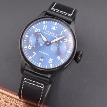 Corgeut 42mm Power Reserve  PVD case Leather strap mechanical Automatic men Watch