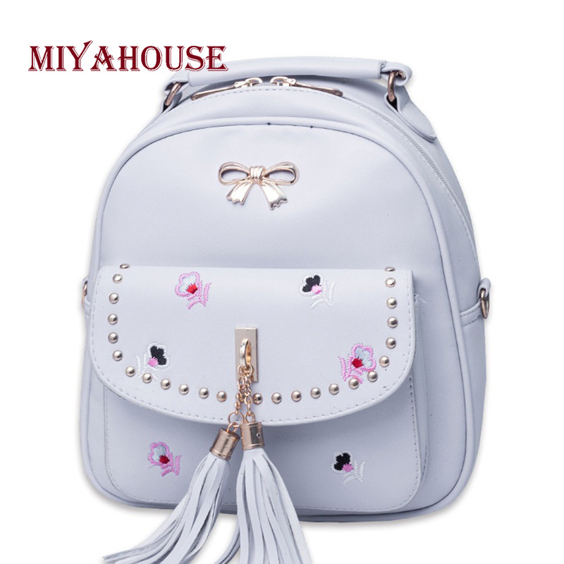 Miyahouse Mini Backpacks Women Floral Design Travel Rucksacks PU Leather Female Tassel Shoulder School Bags For Teenagers forudesigns fashion women drawstring bags william morris print mini string rucksacks for female reusable storage backpacks bolsa
