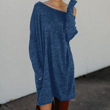 Knitted Winter Dress Mini Dresses For Women Tunic Vestidos Round Neck Long Sleeve Loose Casual Basic